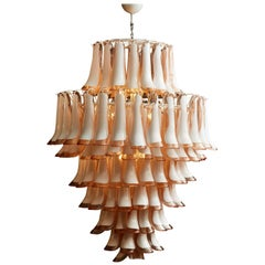 Vintage Pink Chandelier in Murano Glass
