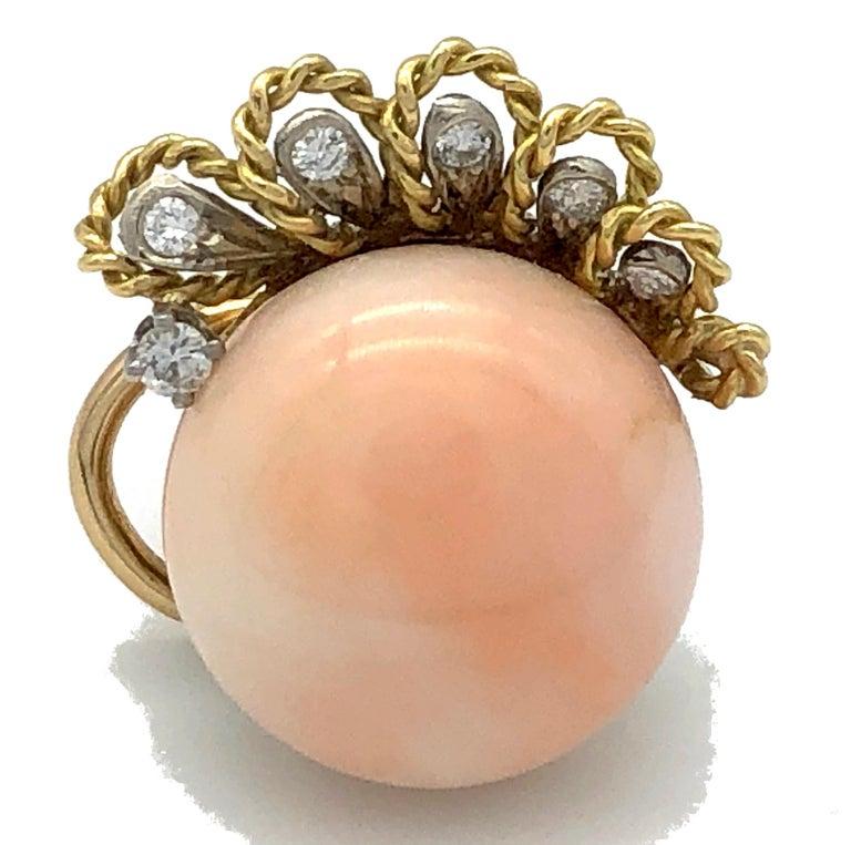 Women's Vintage Pink Coral Diamond 18 Karat Gold Platinum Earclips For Sale