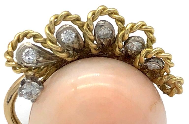 Vintage Pink Coral Diamond 18 Karat Gold Platinum Earclips For Sale 1