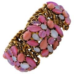 Vintage Pink Glass Massive Bracelet Western Germany 1960's