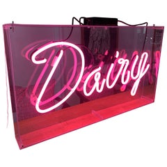 Vintage Pink Neon Dairy Sign in Hanging Lucite Box