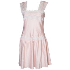 Vintage Pink Nightdress /Dress with Lace Detail