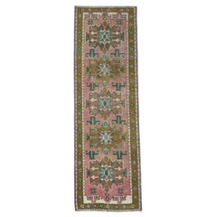 Vintage Pink Persian Karajeh Cropped Thin Pile Clean Hand Knotted Pure Wool Rug