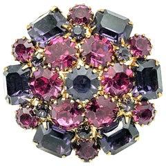 Vintage Pink & Purple Crystal Statement Crystal Ring 1950s