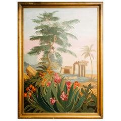 Vintage Pink Red Floral El Dorado Mural Scene Painting