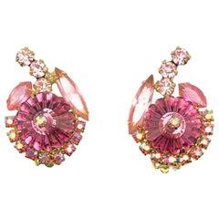 Vintage Pink Rivoli Crystal Flower Earrings 1950s