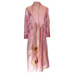 Vintage Pink Robe with Quilted Collar and Pockets.