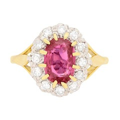 Vintage Pink Sapphire and Diamond Cluster Ring, circa 1960s