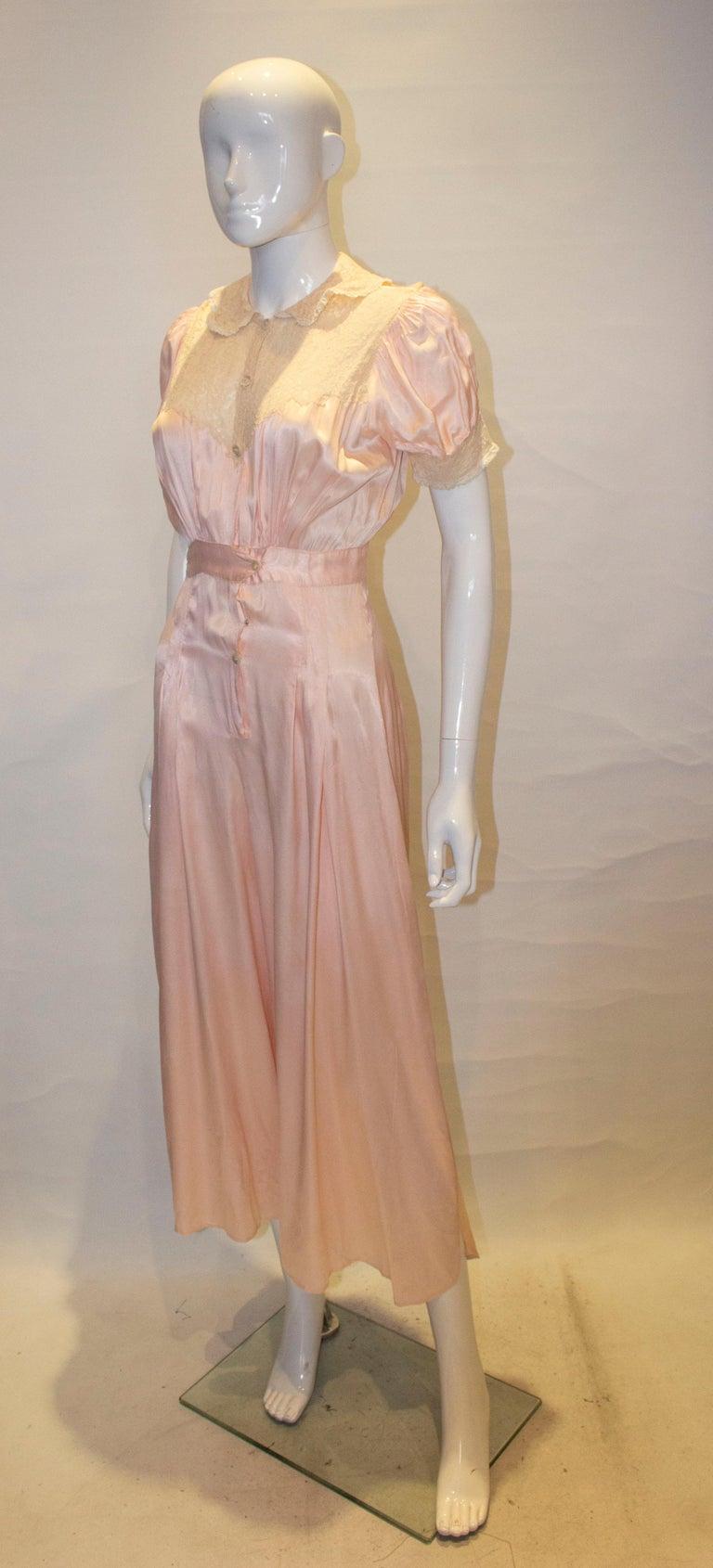 Beige Vintage Pink Silk Satin Lingerie Jumpsuit For Sale