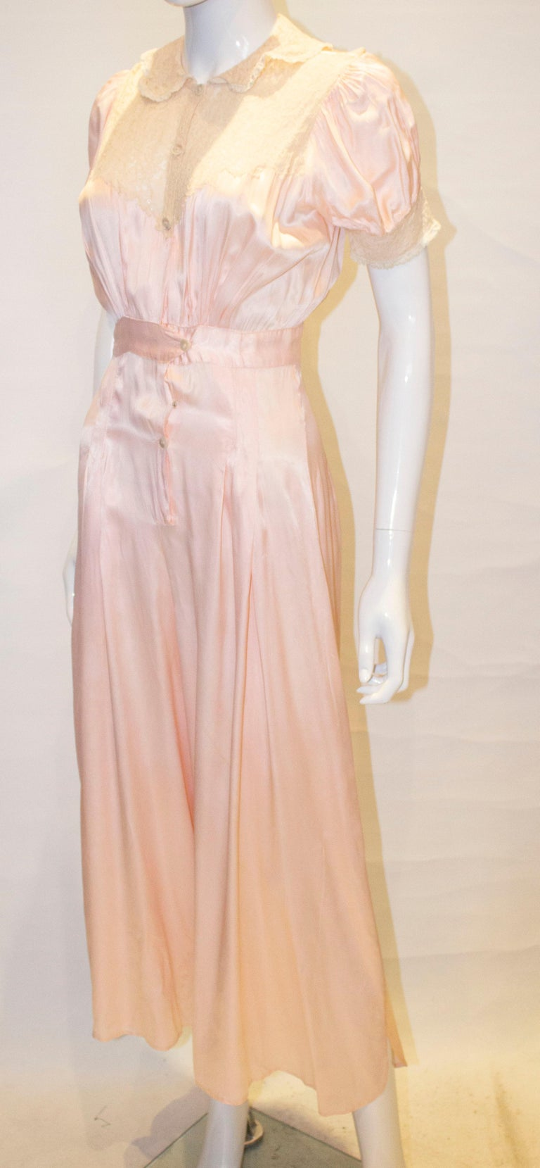 Vintage Pink Silk Satin Lingerie Jumpsuit In Good Condition For Sale In London, GB