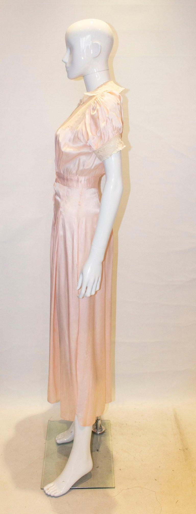 Women's Vintage Pink Silk Satin Lingerie Jumpsuit For Sale