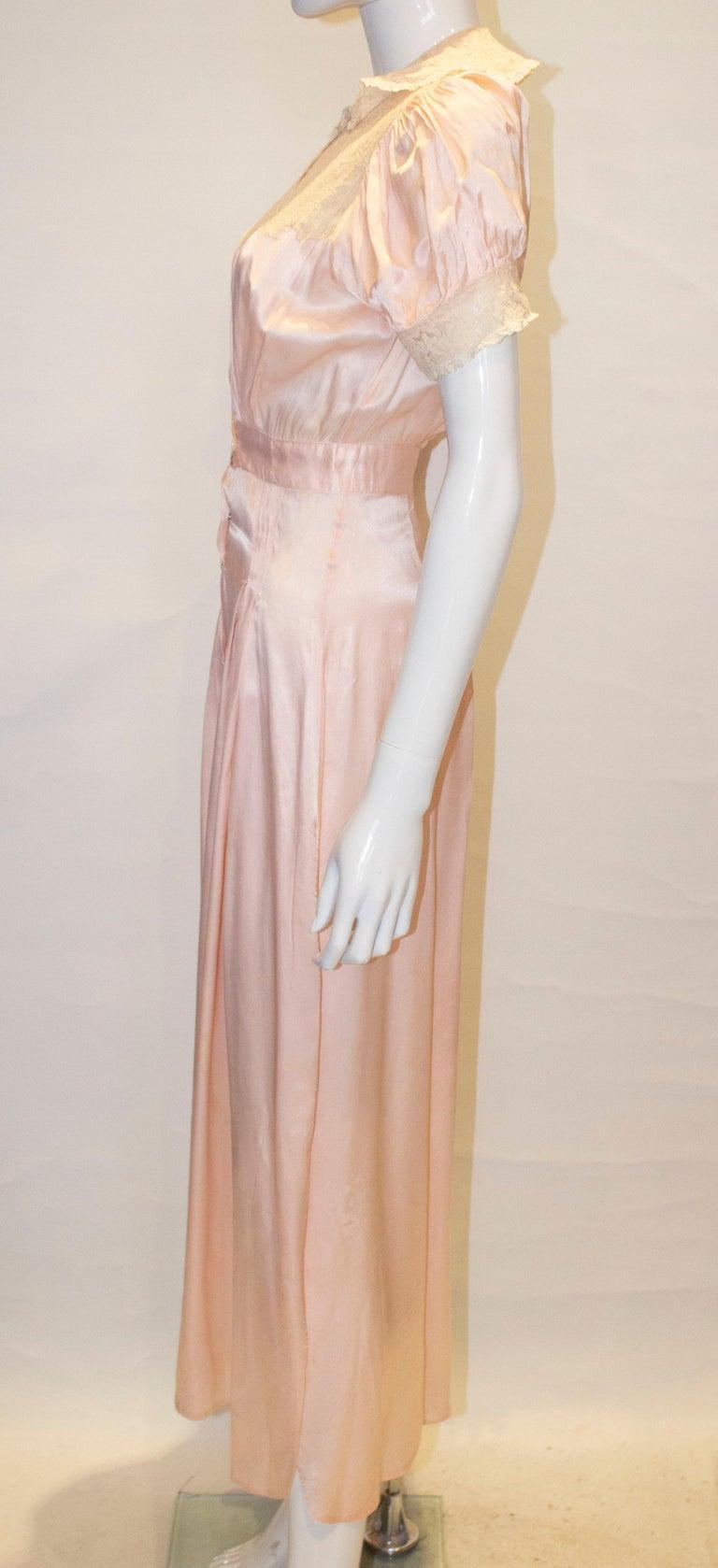 Vintage Pink Silk Satin Lingerie Jumpsuit For Sale 1