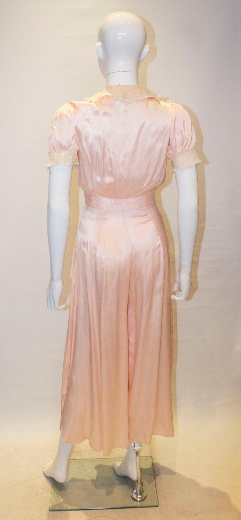 Vintage Pink Silk Satin Lingerie Jumpsuit For Sale 2