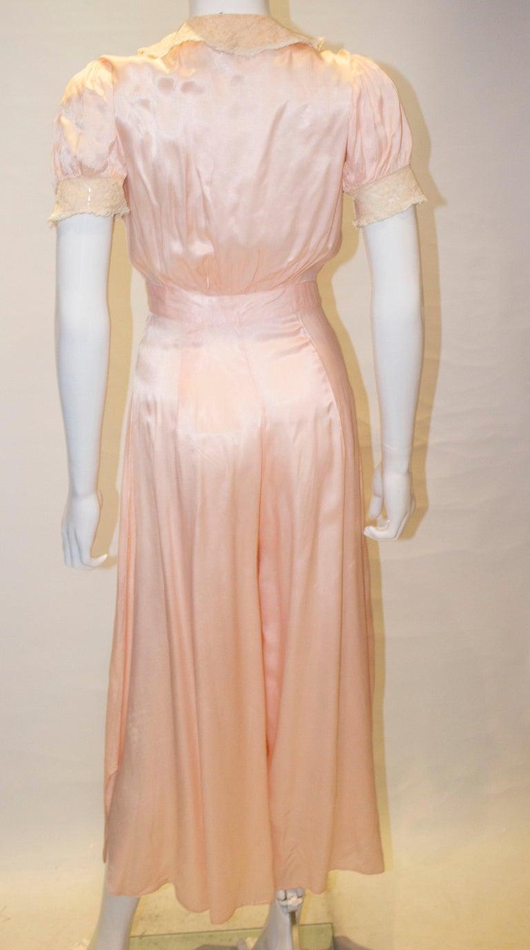 Vintage Pink Silk Satin Lingerie Jumpsuit For Sale 3