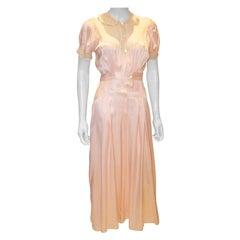 Vintage Pink Silk Satin Lingerie Jumpsuit