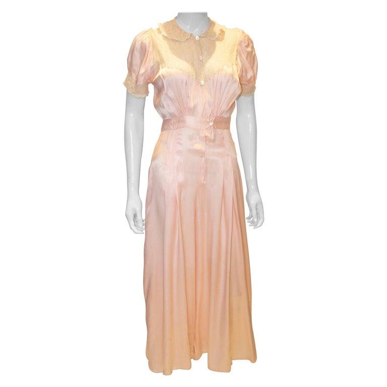 Vintage Pink Silk Satin Lingerie Jumpsuit For Sale