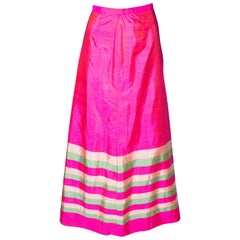 Vintage Pink Silk Stripe Skirt