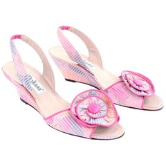 Vintage Pink Slingbacks d'Rossana by Charna 1980s Floral Striped Shoes 7N