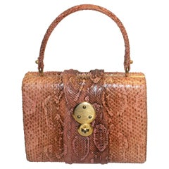 Vintage Pink Snakeskin Top Handle Handbag
