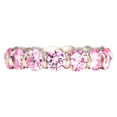Vintage Pink Tourmaline and 14 Carat White Gold Eternity Band