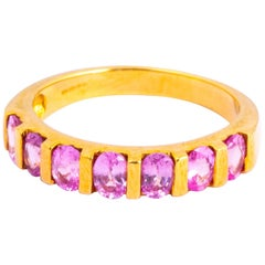 Vintage Pink Tourmaline and 18 Carat Gold Half Eternity Band