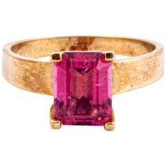 Vintage Pink Tourmaline and 9 Carat Gold Ring