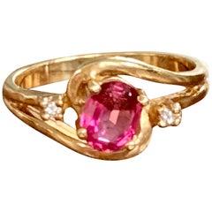 Vintage Pink Tourmaline and Brilliant Cut Diamond 14 Karat Yellow Gold Ring