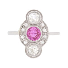 Vintage Pink Tourmaline and Old and Rose Cut Diamond Ring, circa 1940s