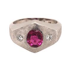 Vintage Pink Tourmaline Diamonds Brushed Finish 14k White Gold Men's Ring
