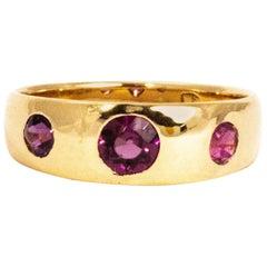Vintage Pink Tourmaline Three-Stone 18 Carat Gold Band Ring