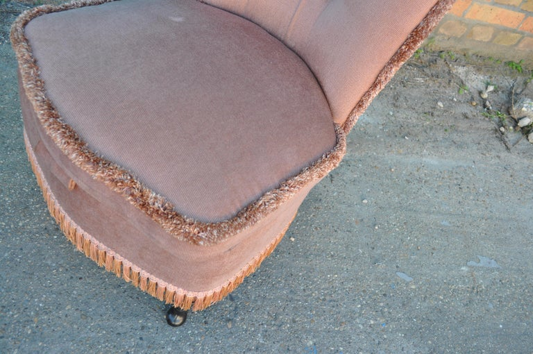 Bohemian Vintage Pink Velour Bedroom Boudoir Chair Studded Back and Padded Seat For Sale
