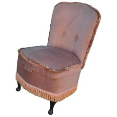 Vintage Pink Velour Bedroom Boudoir Chair Studded Back and Padded Seat