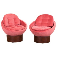 Vintage Pink Velvet Lounge Chairs, Set of 2 Bucket Seats