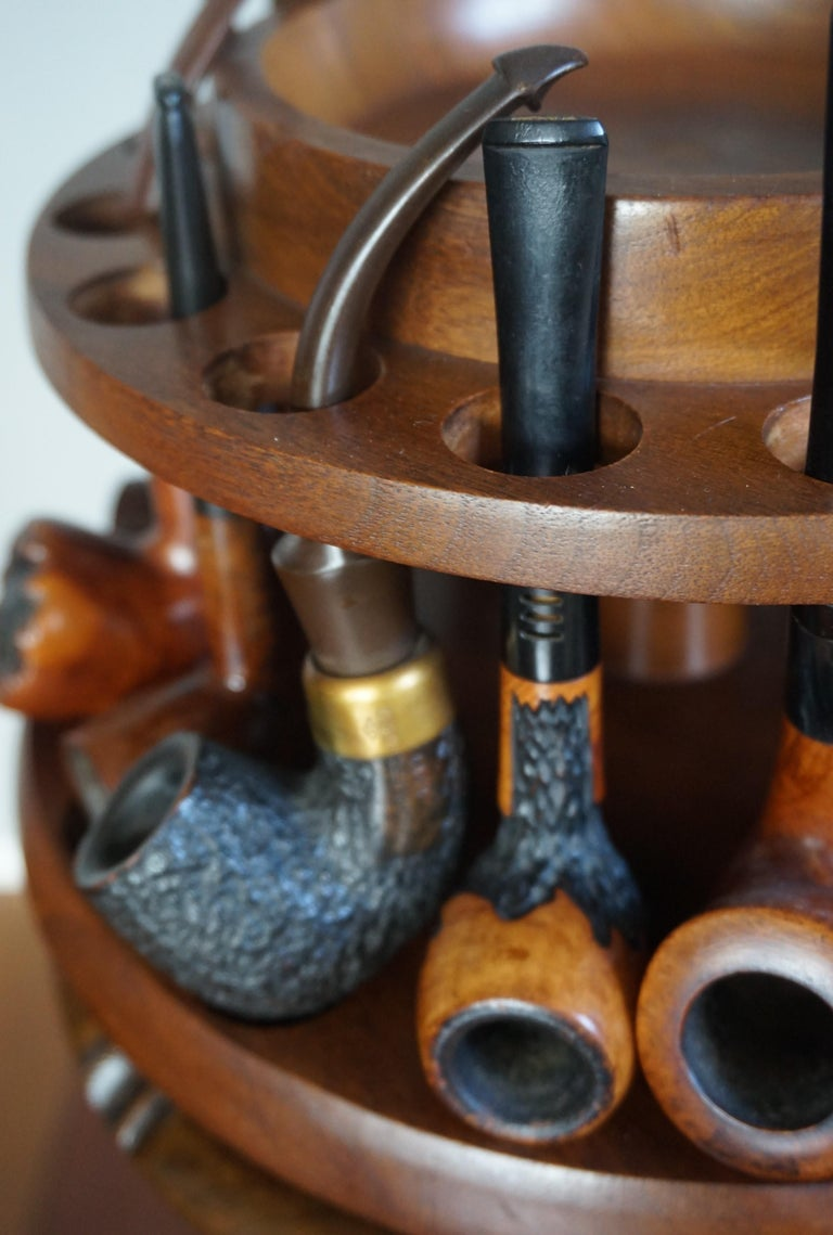 Vintage Pipe Stand Or Table With Antique Tobacco Box And