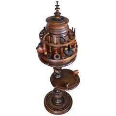 Vintage Pipe Stand or Table with Antique Tobacco Box & Midcentury Pipe Carousel