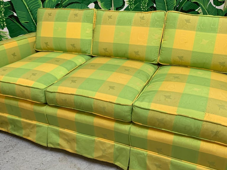 Hollywood Regency Vintage Plaid Sofa in the Style of Dorothy Draper For Sale