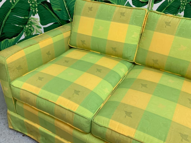 Vintage Plaid Sofa in the Style of Dorothy Draper In Good Condition For Sale In Jacksonville, FL
