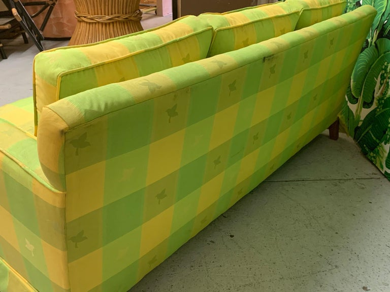 Upholstery Vintage Plaid Sofa in the Style of Dorothy Draper For Sale