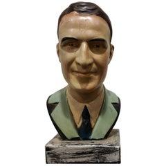 Vintage Plaster Bust of a Gentleman, 1950s