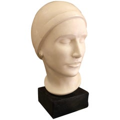 Vintage Plaster Bust of Woman in the Art Deco Style