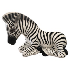 Vintage Plaster Hollywood Regency Large Zebra Statue