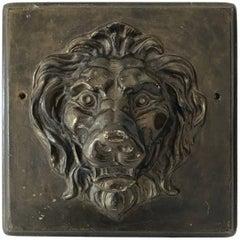 Vintage Plaster Lion Plaque