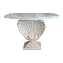 Vintage Plaster Seashell Scallop Shell Console Table Lacquered
