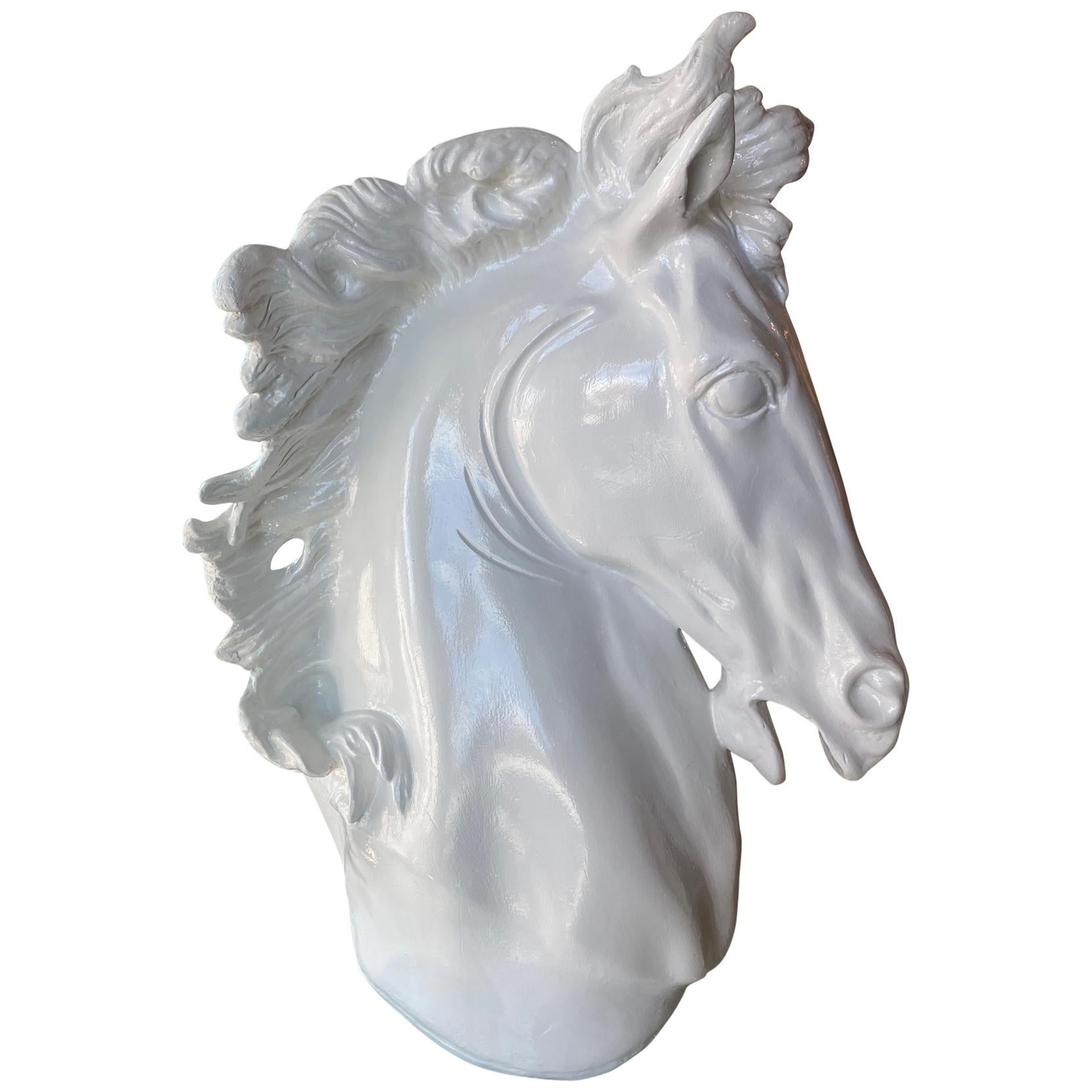 Vintage Plaster White Lacquered Modern Large Horse Head Statue