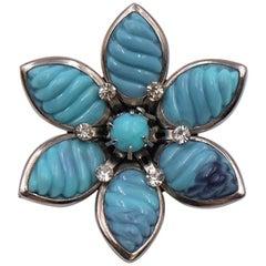 Vintage Plastic Flower Blue Brooch 1960's