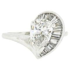 Vintage Platinum 1.06ct GIA Pear Diamond Solitaire & Baguettes Engagement Ring