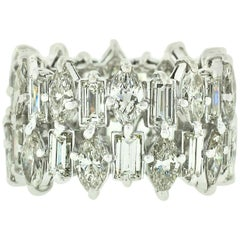 Vintage Platinum 10ctw Marquise & Baguette Diamond Wide 2 Row Eternity Band Ring
