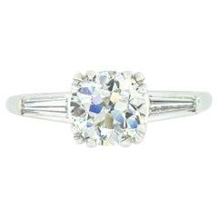Vintage Platinum 1.40ct GIA Old European Cut Diamond Solitaire Engagement Ring