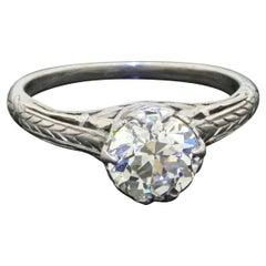 Vintage Platinum 1.44ct VS1/H Diamond Solitaire Filigree Wedding Ring