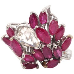 Vintage Platinum/14Kt Rose and Baguette Cut Diamonds with Rubies Fashion Ring